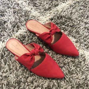 Caslon Red Leather Mules Size 6.5